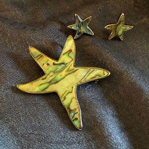 Star Pendant/Brooch and earrings
